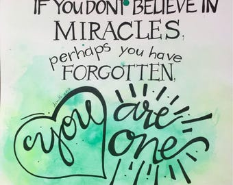 You are a Miracle...Original Watercolor Painting, Hand-Lettered & Unique.  11x15 Unframed Wall-Word Art with Green, Yellow