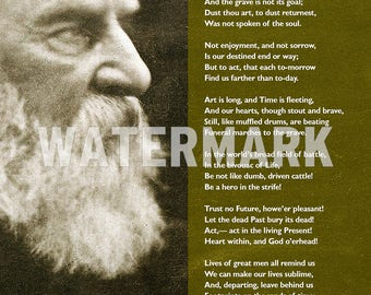 Henry Wadsworth Longfellow Poem - A Psalm of Life- Poster Original Art Print Photo