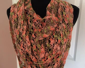Light weight Hand crochet wrap/shawl with beads. ready to ship