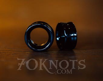 TUNNELS Black Obsidian Stone Plugs - Double Flared - 1 Pair - 6mm, 8mm, 10mm, 11mm, 12.7mm, 14mm, 16mm, 19mm, 22mm, 25mm - Organic