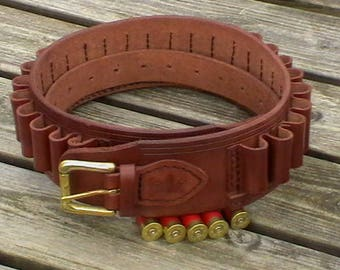 28 Gauge all leather cartridge belt, 12 bore