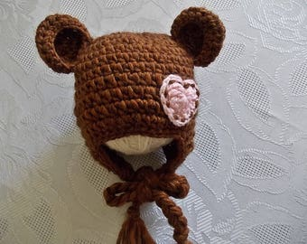 Baby bear hat Baby girl bear hat Crochet bear hat Earflap bear hat Baby hat with ears Bear beanie Winter baby girl hat Wool baby hat