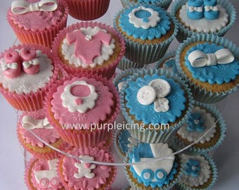 Custom Made 2d Cupcake Toppers: Baby Shower