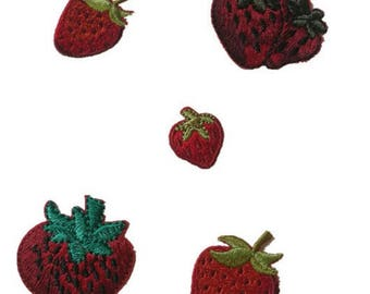Wholesale bulk lot 100pcs  strawberry collection   embroidered   iron  on patch  DIY  3-5cm