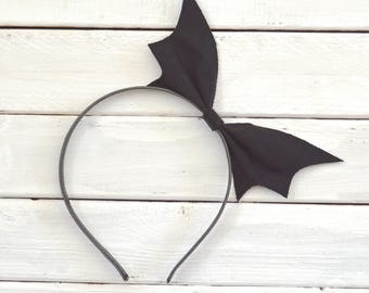 Black Bat Headband // Gothic Headband // Bat Wing Headband // Bat Bow Headband // Bat Costume // Halloween Headband