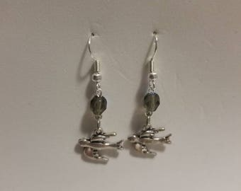 Simple bird earrings, Faceted Bead and bird earrings, fly away home earrings, Silver bird earrings, bird in flight earrings