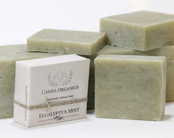 EUCALYPTUS & MINT Homemade Soap, 1 LB CassiaOrganics Loaf Soap, Alaska Glacial Mud Soap, Soap With Cambrian Clay, Vegan Hemp Seed Oil Soap