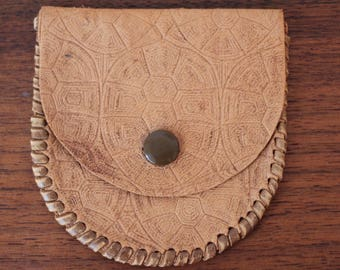 Hand Tooled Leather Wallet/ Coin Pouch/ Turtle Wallet/ Leather Card Case/ Leather Billfold/ Boho Style