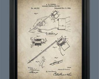 Vintage Tattoo Machine Patent Print - Tattoo Pen - Tattoo Poster - Tattoo Artist - Tattoo Art - Tattoo Parlor - Tattooing Machine - #139