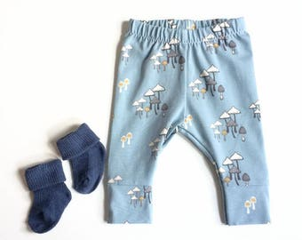 Blue baby leggings with fungi. Comfy toddler pants. Cotton knit fabric with mushrooms. Infant cuff leggings.
