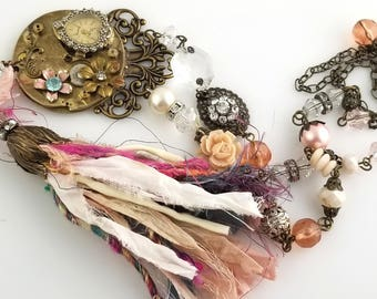Silk Tassel Victorian Shabby Chic Necklace, Re-Purposed Adornments with Rhinestone Watch, Roses, Clock-face VN157