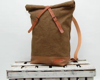 Waxed canvas rucksack/backpack,tan color ,hand waxed