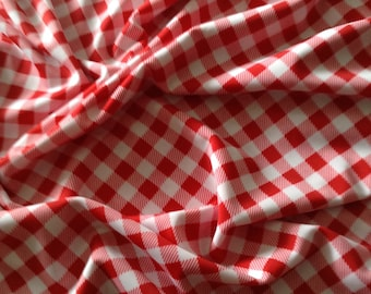"Stretch Spandex Lycra Polyester Swimsuit Fabric - 4-way stretch 58"" wide, gingham print"