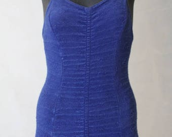 Girl's Vintage blue toweling bathing suit Teen or Petite