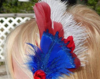 Fourth of July Feather Fascinator - Red White and Blue