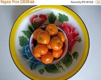 SALE vintage 40's set of 4 floral enamel bowls in multicolor