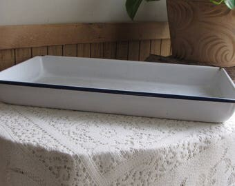 Enamel Pan With Blue Trim Large Metal White and Blue Cookware or Storage Industrial Salvage