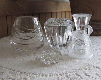 Crystal Candle Holders Lot of Four (4) Candle Holders and Votives Vintage Lighting Candles and Home Decor