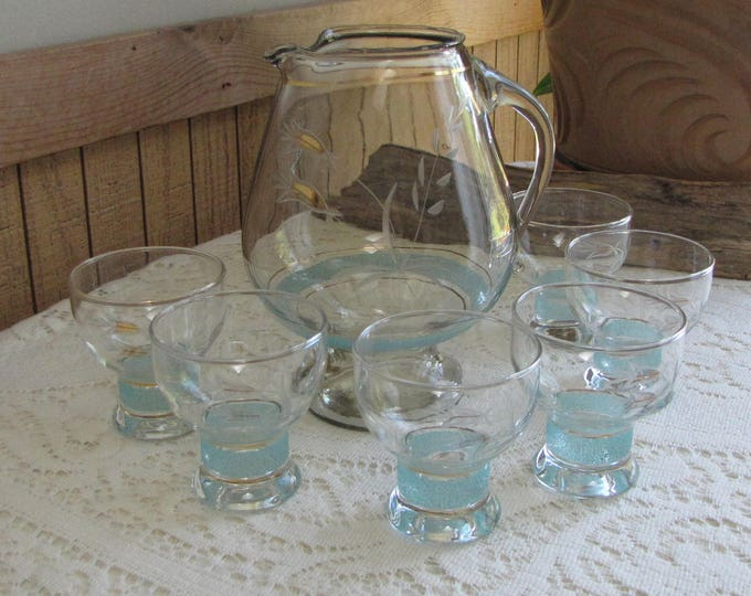 Vintage Etched Whiskey Pitcher and Glasses Turquoise Banded Decanter Set With Six (6) Small Glasses