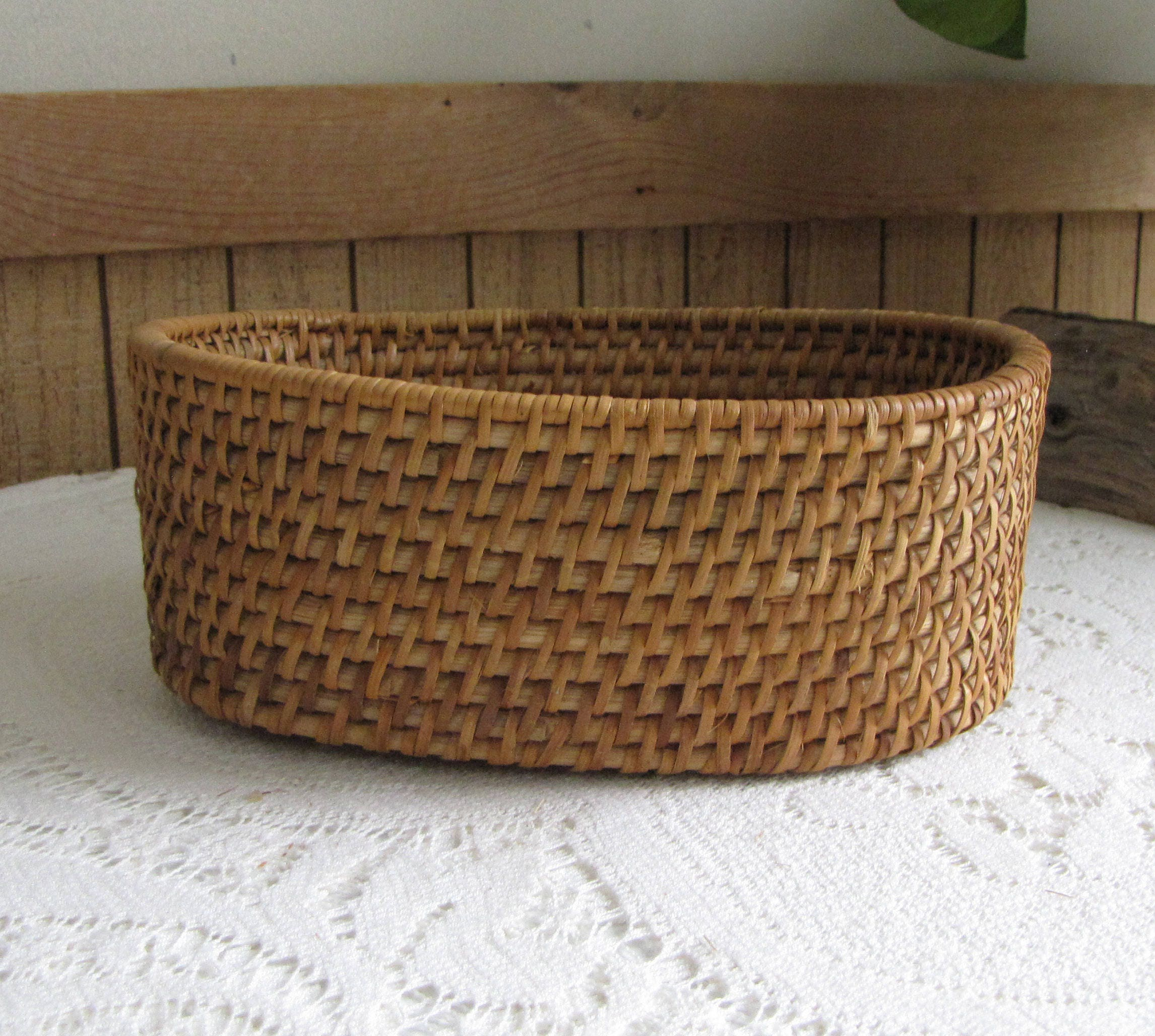 Vintage oval woven basket small trinket or centerpiece