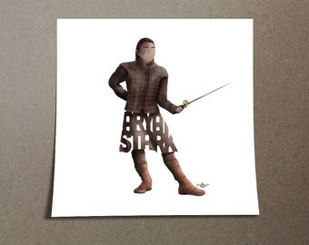 Arya Stark Poster Design of Young Stark Wolf from the Game of Thrones Television Series shown on HBO. Arya Stark Holding her Needle Poster