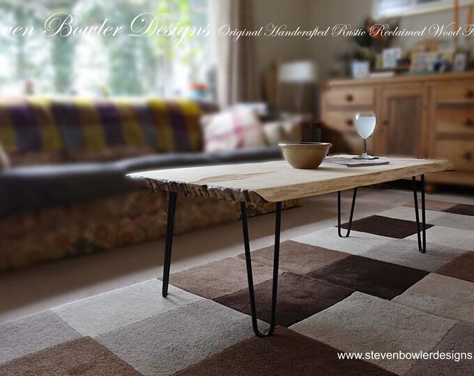 NEW IN STOCK Sleek & Stylish Solid Beech Wood Scandinavian Style Coffee Table Elegant Satin Black Metal Hairpin Legs