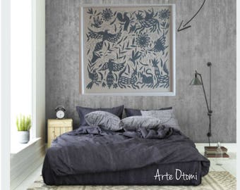 "SLATE GRAY Otomi Wall decor - Wall hanging otomi - Dark Slate GRAY fabric 43""W 43""H -  Hand embroidery. Wood Frame sold separately"