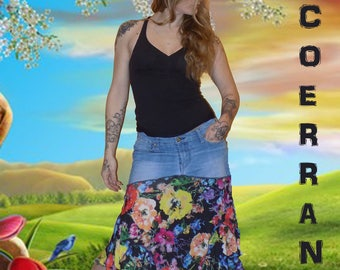 Asymmetrical skirt denim and stretch mesh 'The life of flowers...'