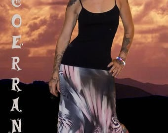 Long skirt in stretch mesh 'Space Life'...