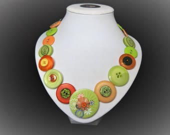 Button necklace - Citrus Twist//recycled buttons/gifts for her/button jewelry/Christmas gift/Mothers day/birthday present/OOAK