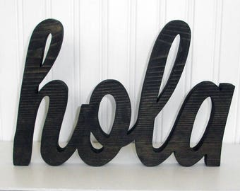 hola Wood Word Sign - Handmade Wood Sign, Stained hola Sign