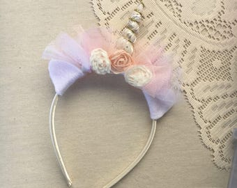 Unicorn headband, book week, photoshoot, photo prop, with ears, sparkle with chiffon flowers