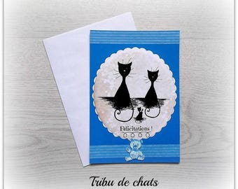Simple tribe of cats, baby boy congratulations card card