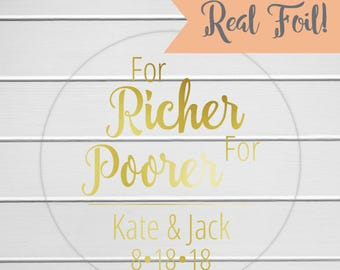 For Richer, For Poorer Stickers, Lottery Ticket Wedding Labels, Customizable Wedding Stickers (#217-3-CF)
