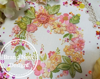 Flower Festival (Apricots) : Stunning Stumpwork Embroidery Kit By Maggie Gee Needlework *NEW*