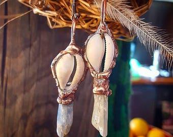 Earrings, Australian Kyanite, Cowrie Shell, Mermaid, Ocean Jewelry, Shell Earrings, Handcrafted, Healing, Gentle, Magical, Sacred Jewelry.