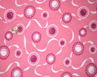 Vintage Feedsack Fabric Novelty 1930's 1940's Quilt Pink Atomic Ribbons Cotton Patchwork