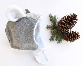 BLUE Herringbone Bear Bonnet / Bear Bonnet / Baby Bonnet / Winter Hat / Bear Hat / Bear Baby Bonnet / Winter Baby Bonnet / Gender Neutral