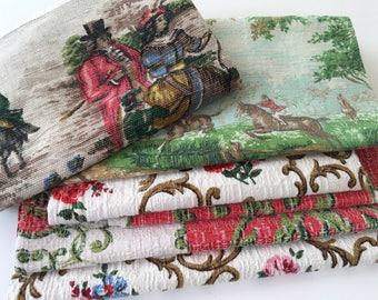 Tela vintage, corteza, scenic, caza, caballos para pequeños proyectos artesanales apliques de patchwork