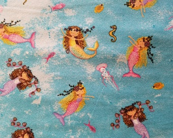 Ocean Mermaids Flannel Fabric Sold by the Yard