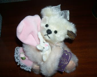 "Vintage ANNETTE FUNICELLO 5 1/2"" Plush 'Bedtime Buddy Bear' Holding Bunny Rabbit and Pink Blanket with Tags- RETIRED."
