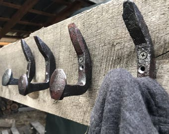 Railroad Spike Coat Hooks. Recycle. Decor. Home. Towels. Gift. Him. Her. Industrial. Functional. Entryway. Bathroom. Blacksmith. Forged.