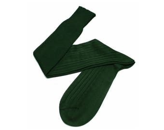 Forest Green Men Over The Calf New Ribbed %100Cotton Lisle Casual Dress Solid Cotton Textured Socks