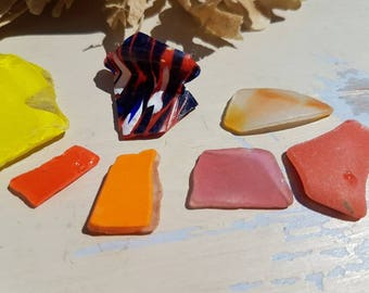 NEON BRIGHT SHARDS ~ Red White Blue Rare Piece ~ Red Pink Orange Yellow ~ Thames ~ Seaglass ~ Mudlarking Finds ~English Sea Glass ~ Beach