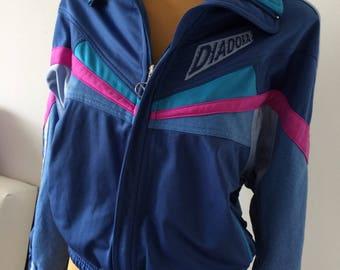 Vintage Diadora Women Jacket Blue pink Tracksuit