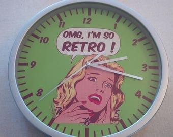 wall clock oh my god retro green vintage