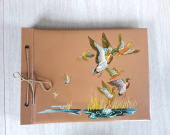 Vintage Photo/Scrap Book with Flying Ducks