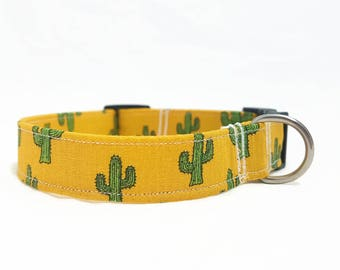 "LAST ONE - Dog Collar - ""Cactus"" - Ocher/Mustard Yellow - Medium - 2 cm Width - Hipster Dog Collar - Trendy Dog Collar - Durable"