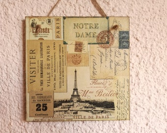 Decoupage picture,Shabby Chic picture,retro,rustic,vintage,cottage,plaque,wall decor, french, Paris, Eiffel Tower