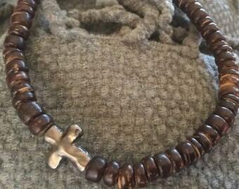 Men's Cross Wood Bracelet